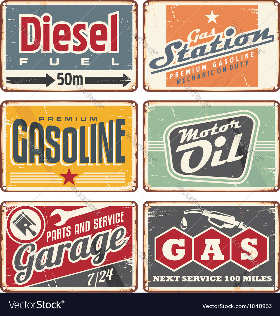 Gas stations and car service vintage tin signs vector image