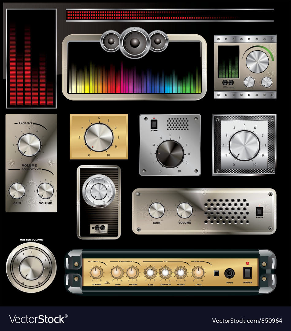 Volume Sound Control Panel : Control panel with volume knob and equalizers vector image