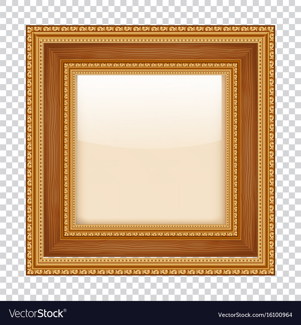 empty gold frame on transparent background wooden vector image - Empty Picture Frame