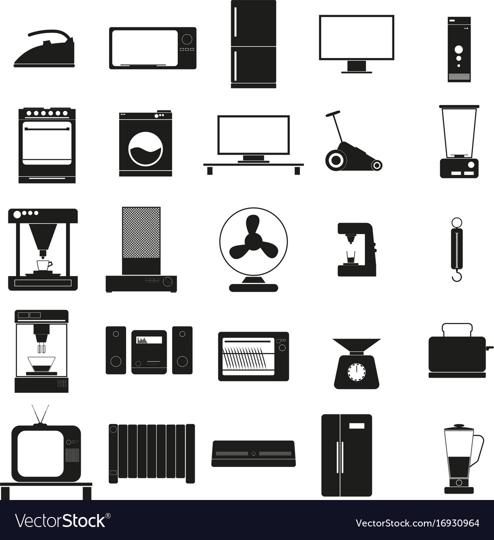 Household appliances set black icon on vector image