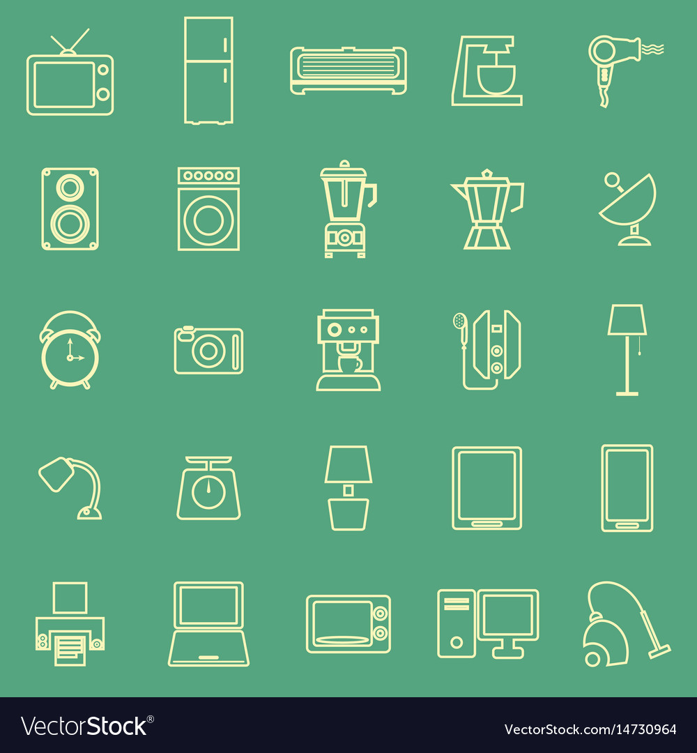 Household line color icons on green background vector image