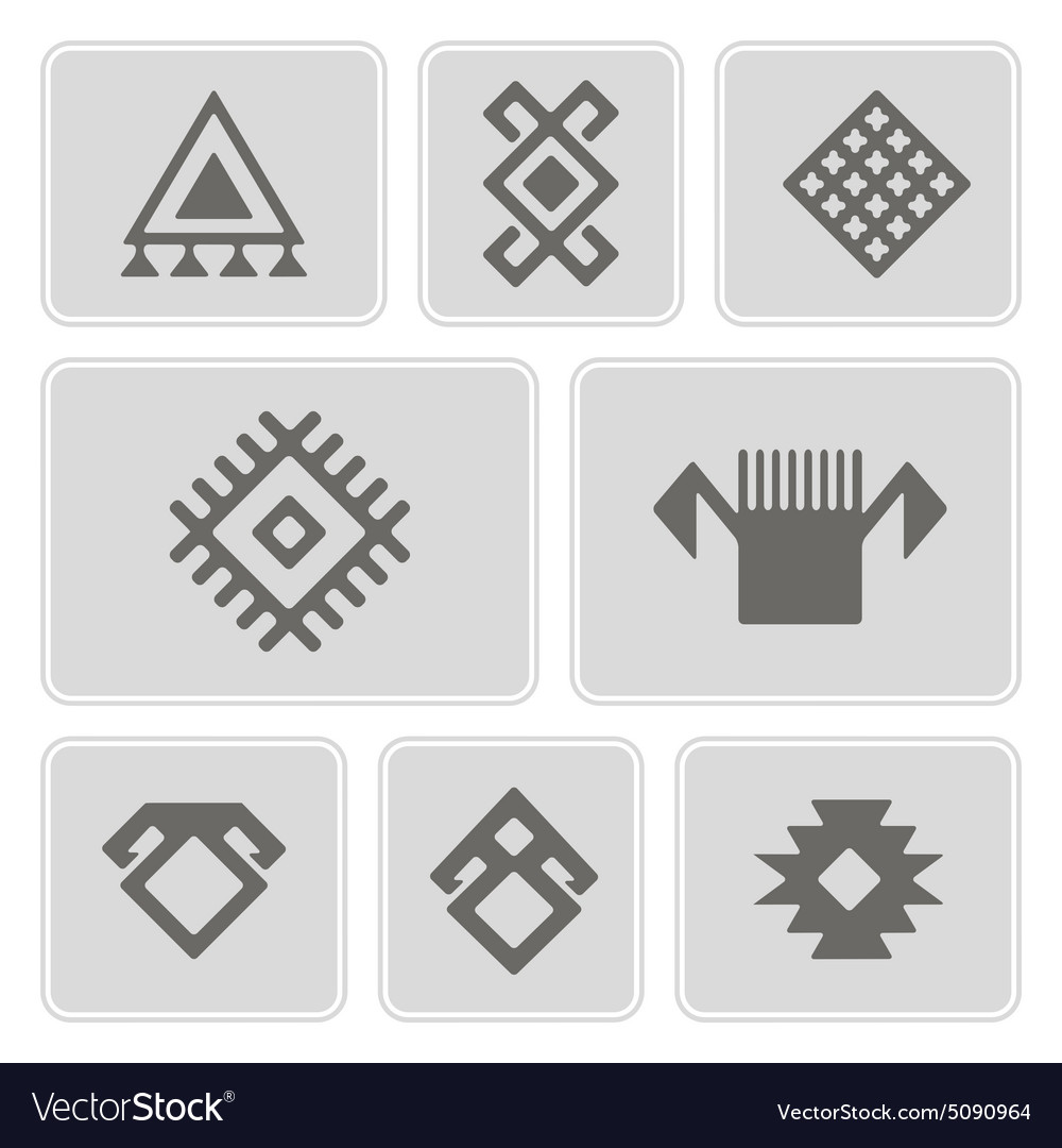 Monochrome icons with persian ethnic symbols vector image biocorpaavc Image collections