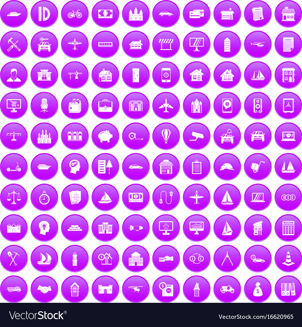 100 private property icons set purple vector image