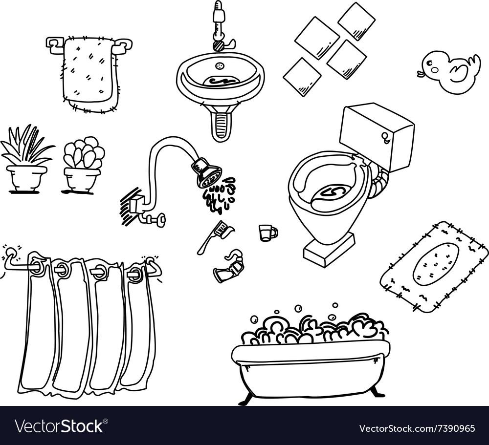 Bathroom line vector image