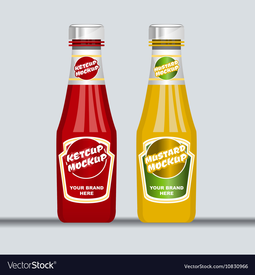 Digital red and brown ketchup and mustard vector image