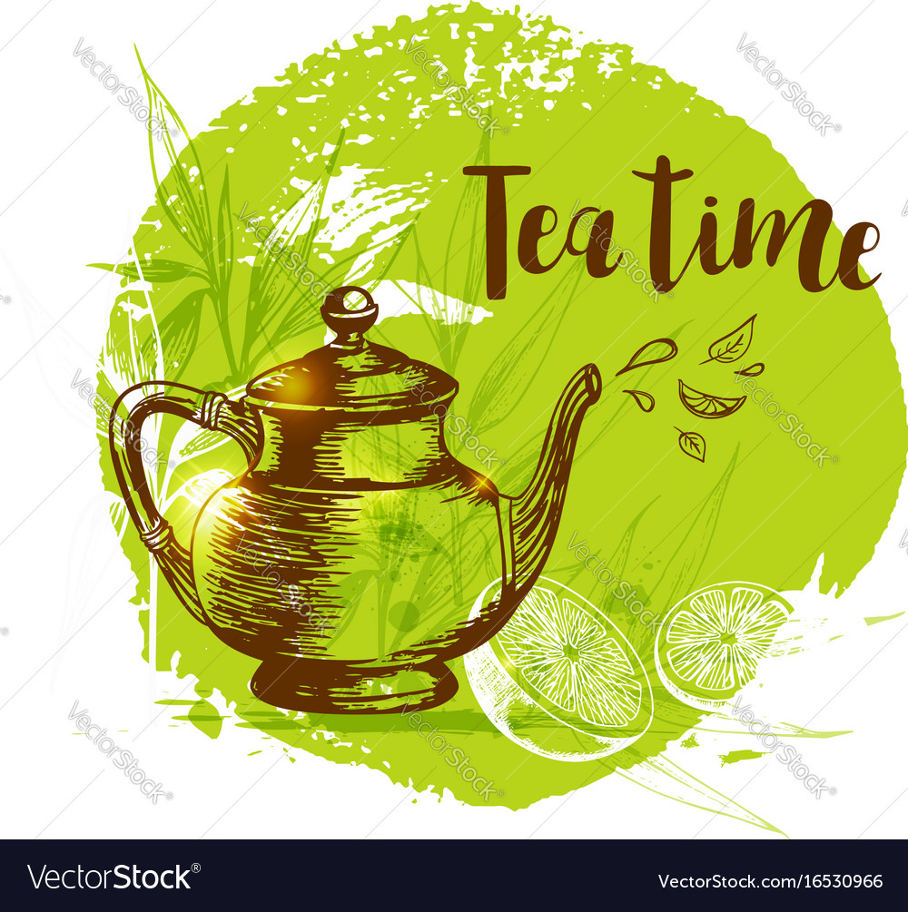 Teapot and lemon on a green background vector image