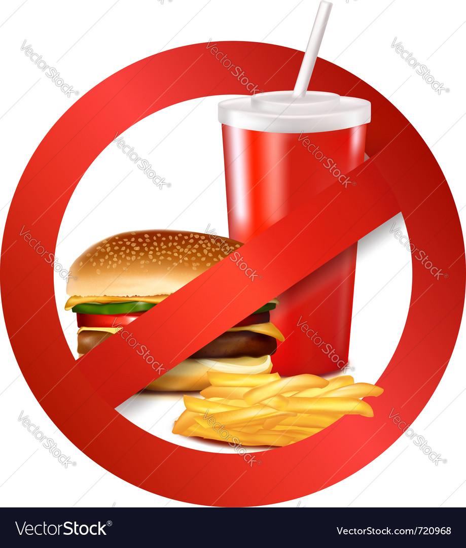 Fast food danger label vector image