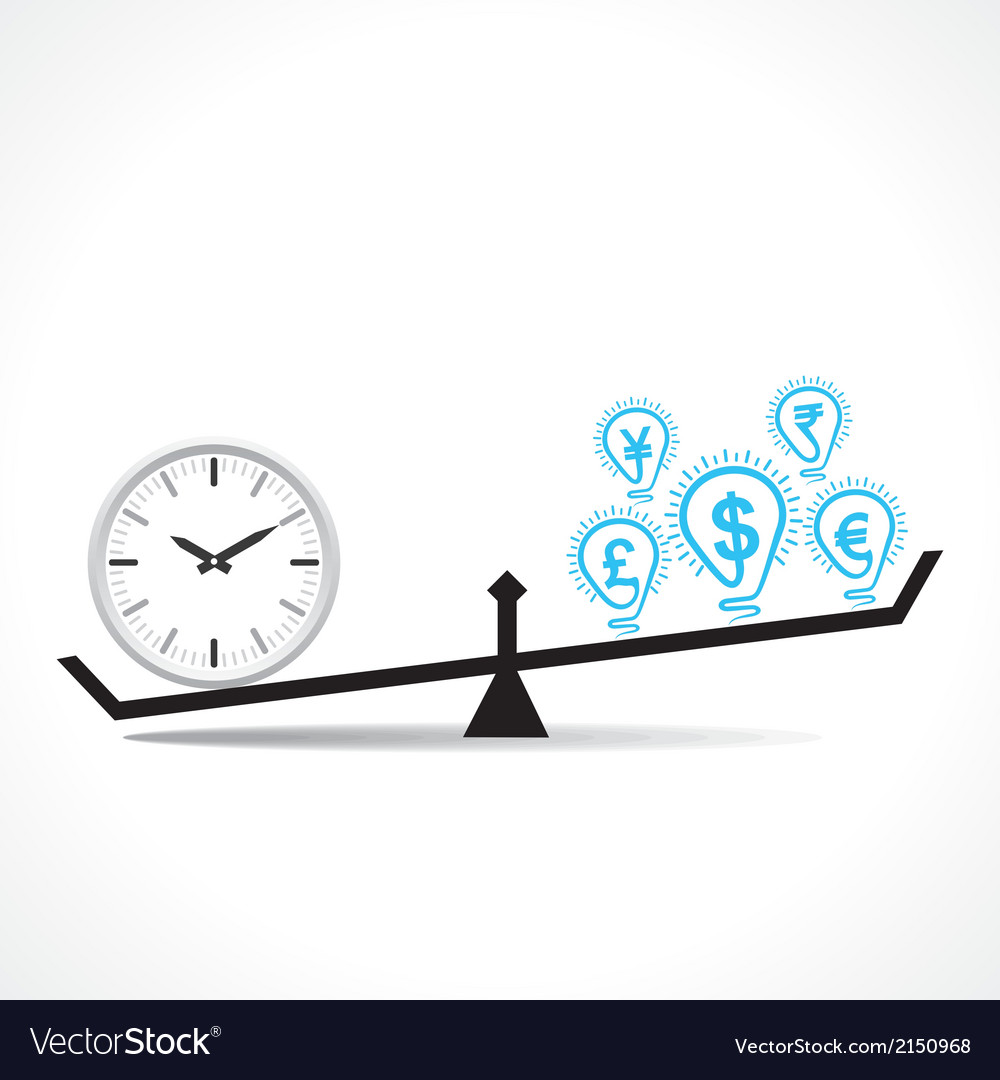 Compare clock and dollar bulb time is money vector image