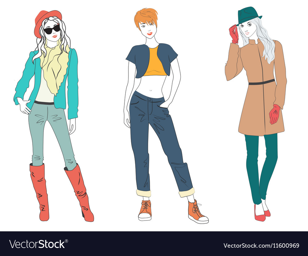 Beautiful young woman lady models in casual modern vector image