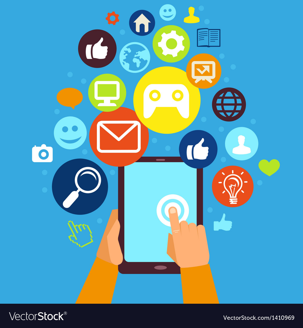 Hands and tablet pc with internet icons vector image