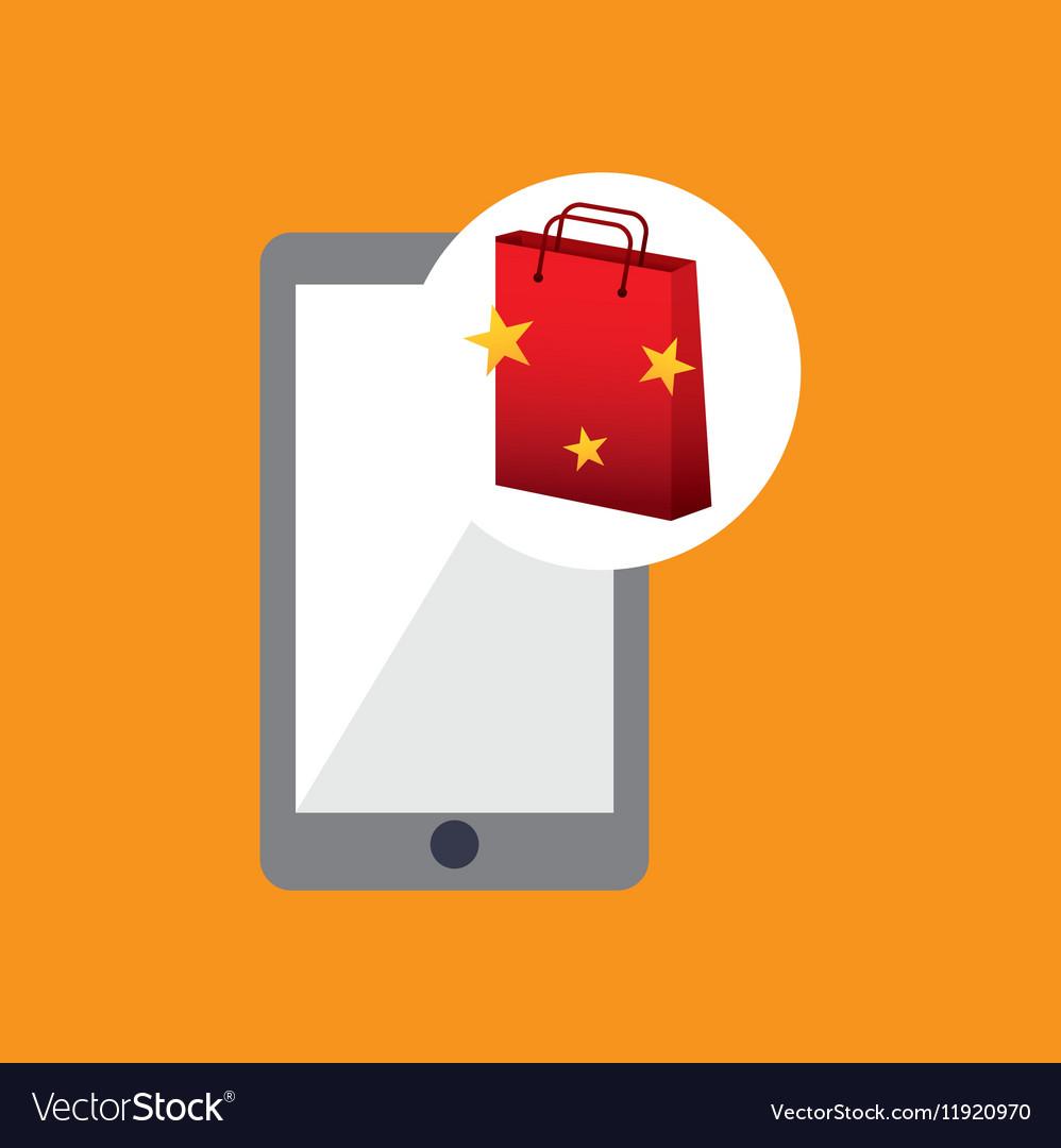 Cellphone red bag gift star design vector image