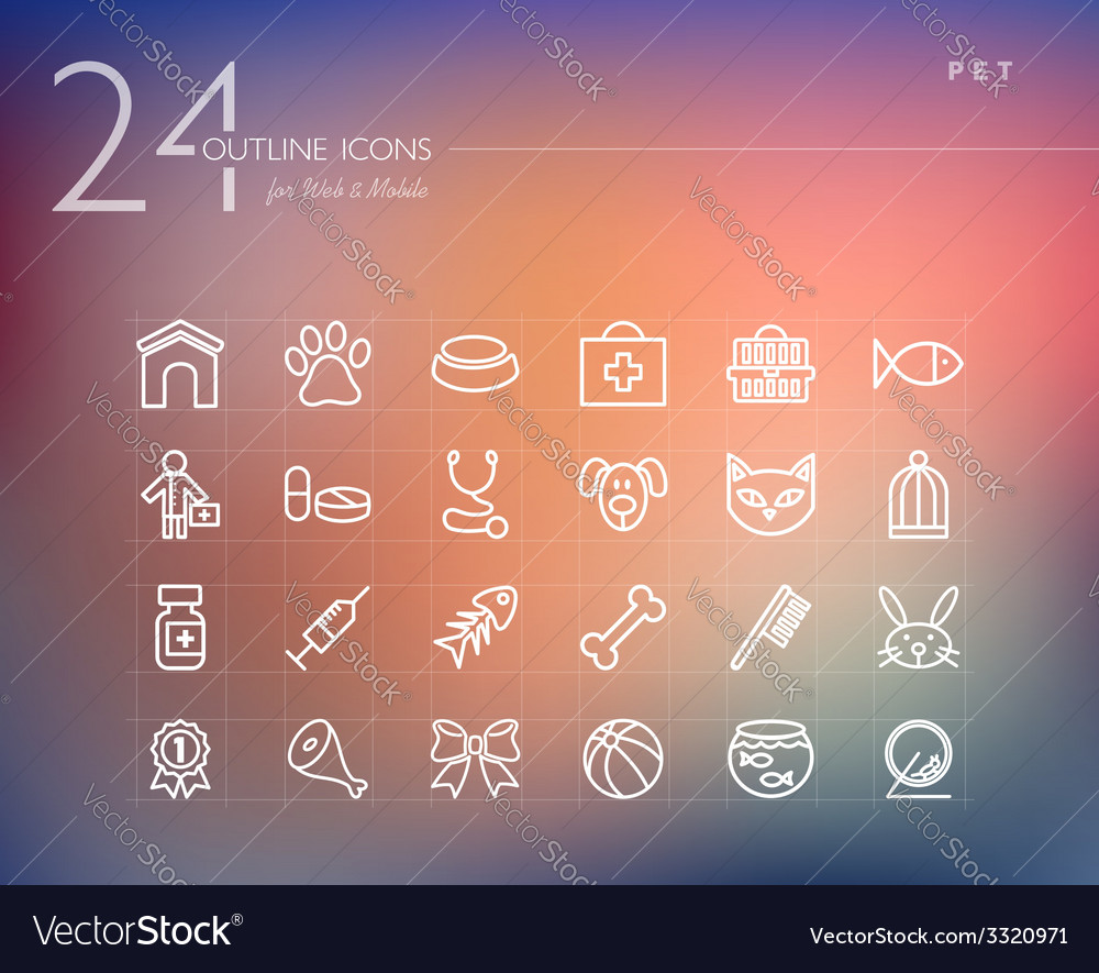 Pet care outline icons set vector image
