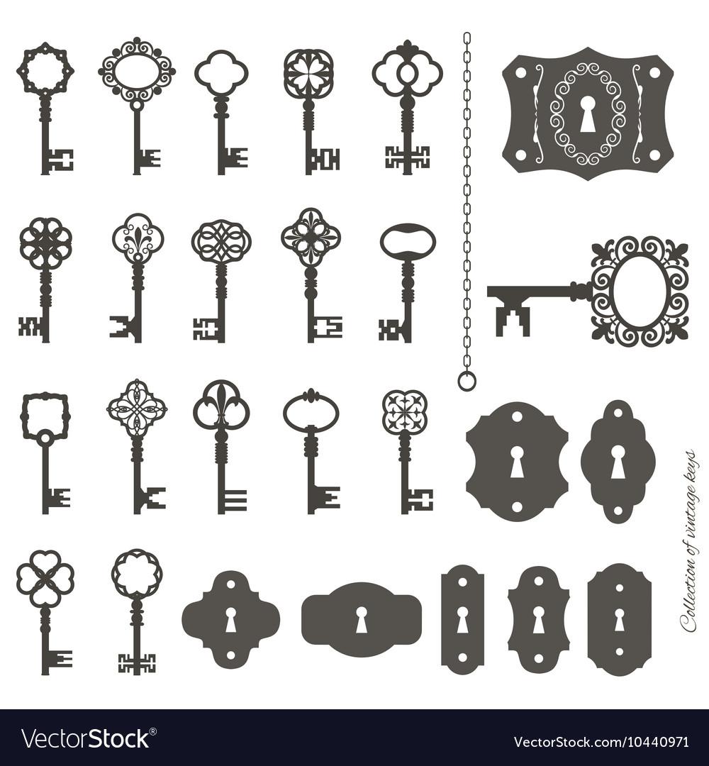 Vintage keys and keyholes big set vector image
