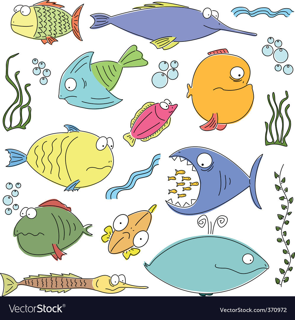 Cartoon comic fish vector image