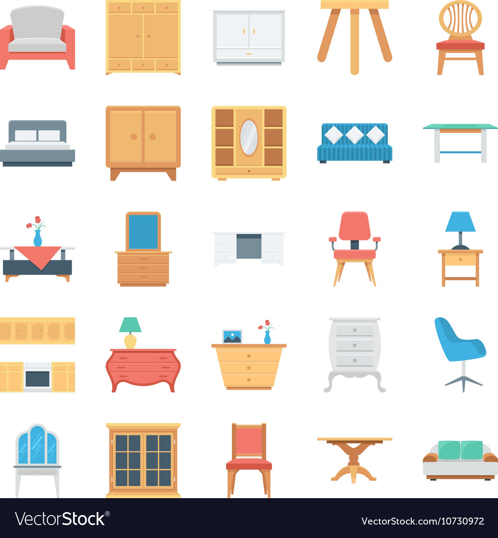 Furniture Colored Icons 5 vector image