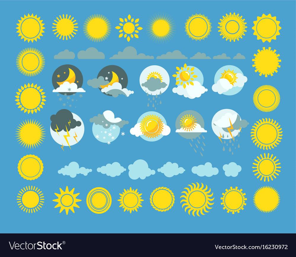 Set of weather icons sun cloud rain vector image