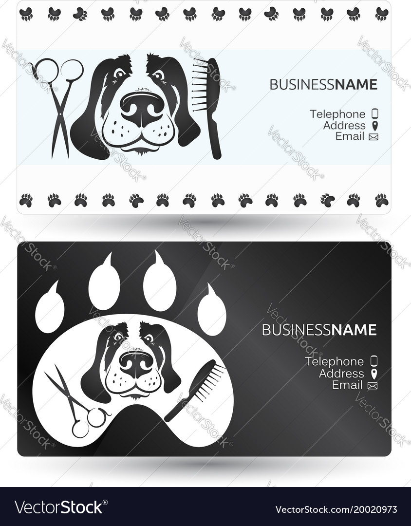 Dog care business card Royalty Free Vector Image