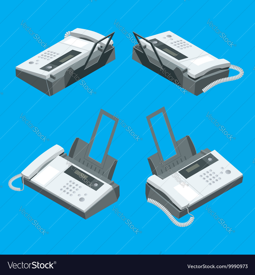 Fax Machine Office Equipment Flat Vector Image