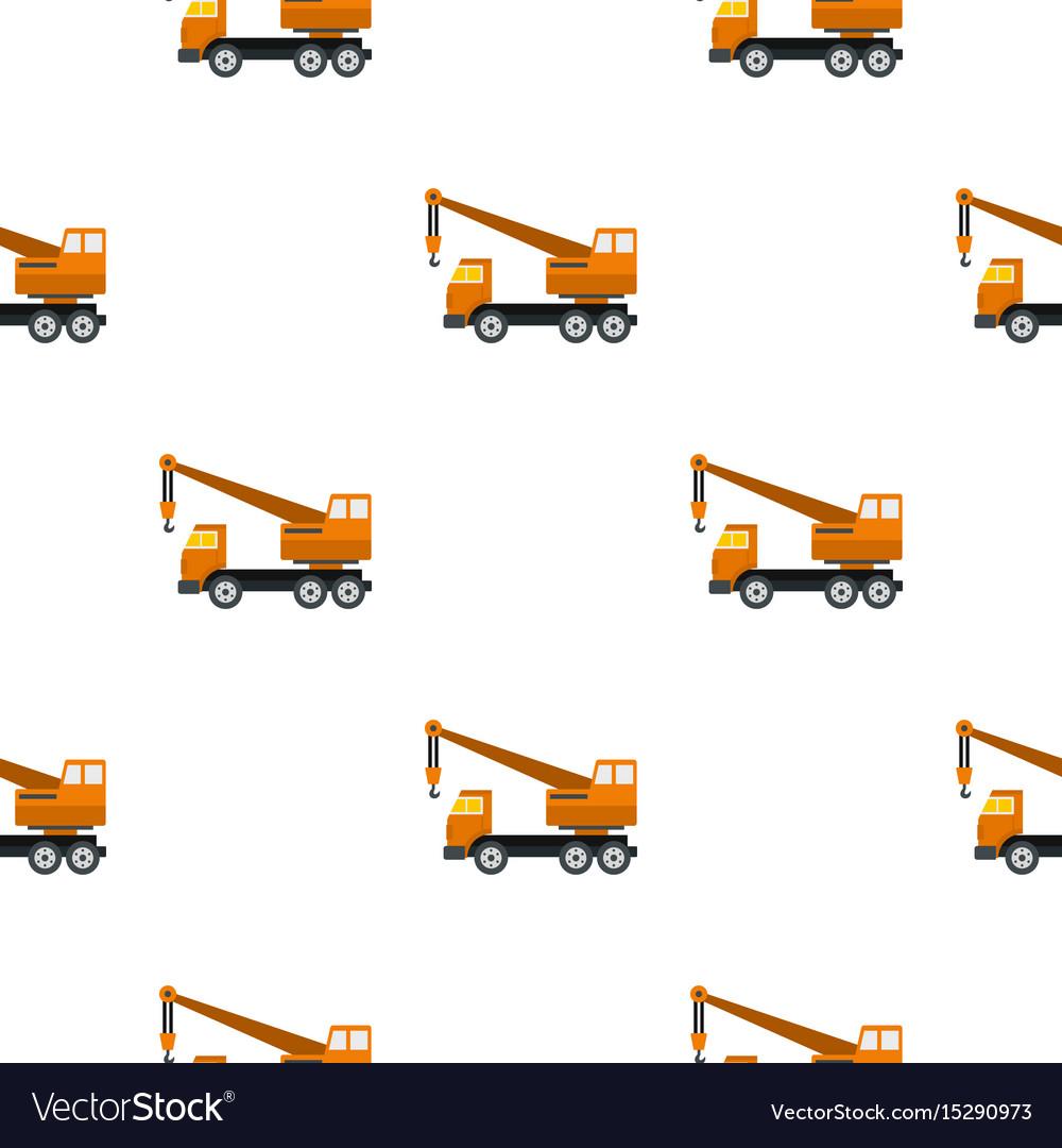 Orange truck crane pattern flat vector image