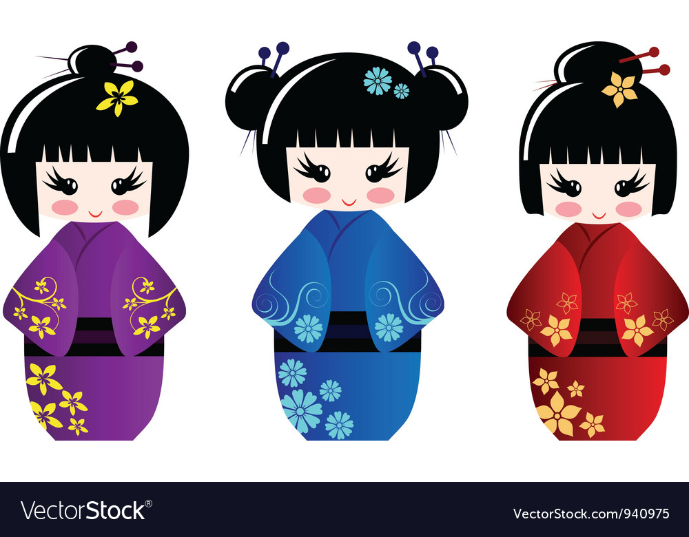 Cute kokeshi dolls vector image