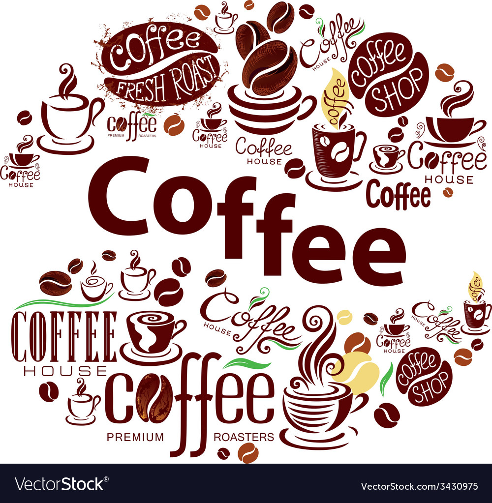 Coffee design elements in vintage style vector image