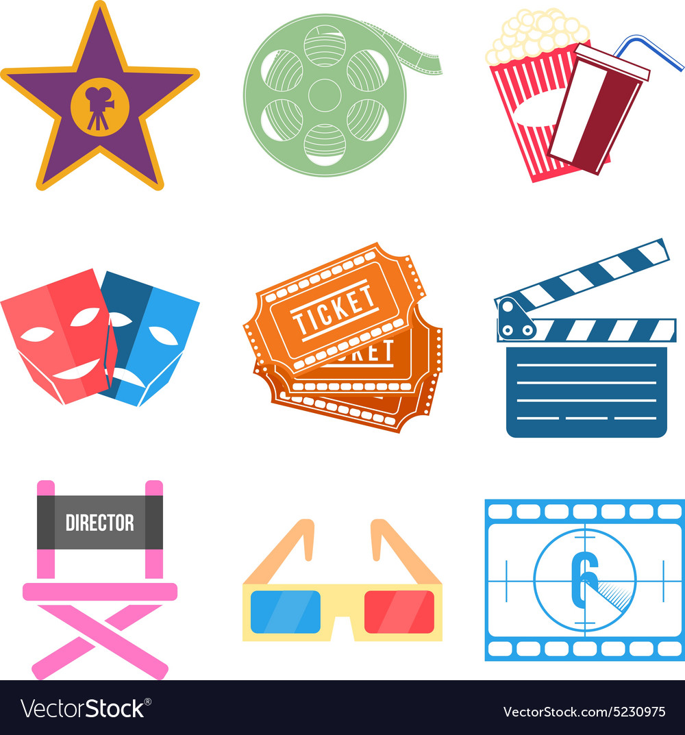 Set of Movie Icons Flat design vector image