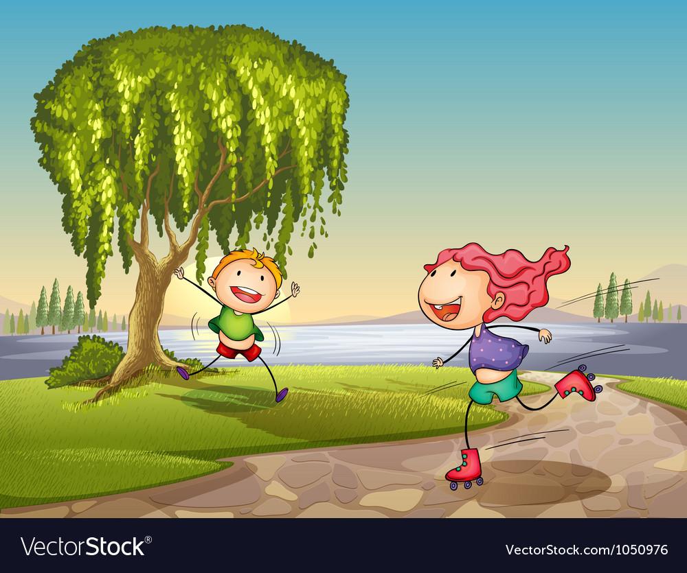 Lakeside Kids playing vector image