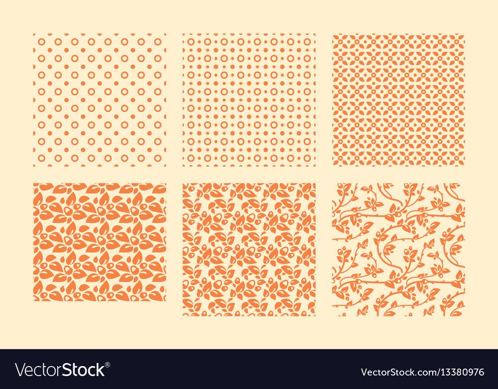 Autumn botanical seamless pattern set vector image
