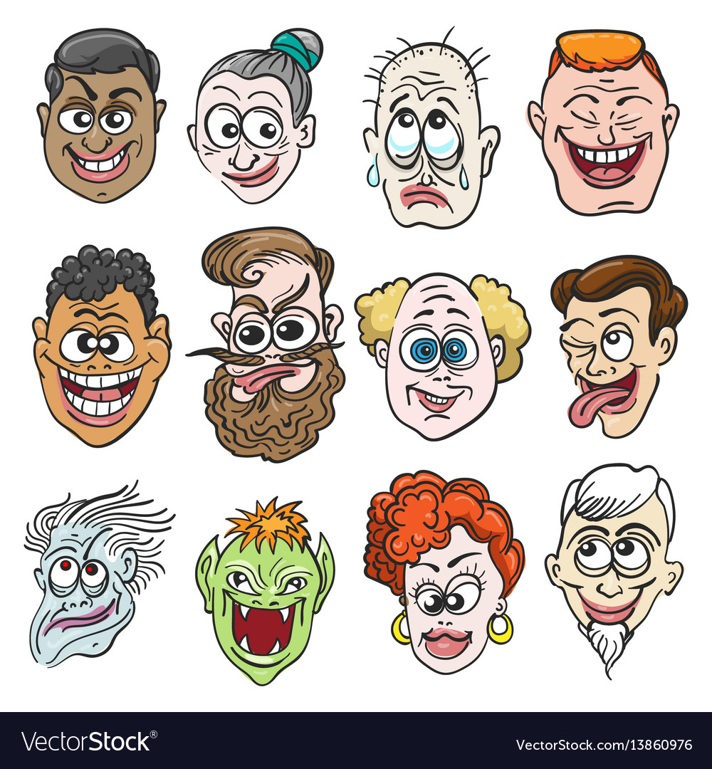 Colorful doodle faces set vector image