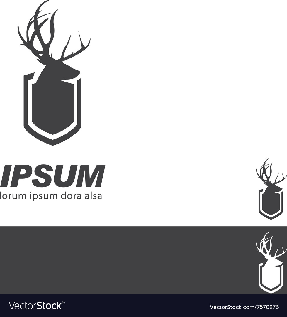 Deer Stag Head sign badge label branding template vector image