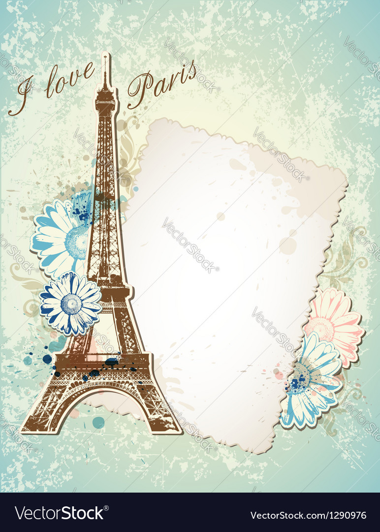 Paris blue background vector image
