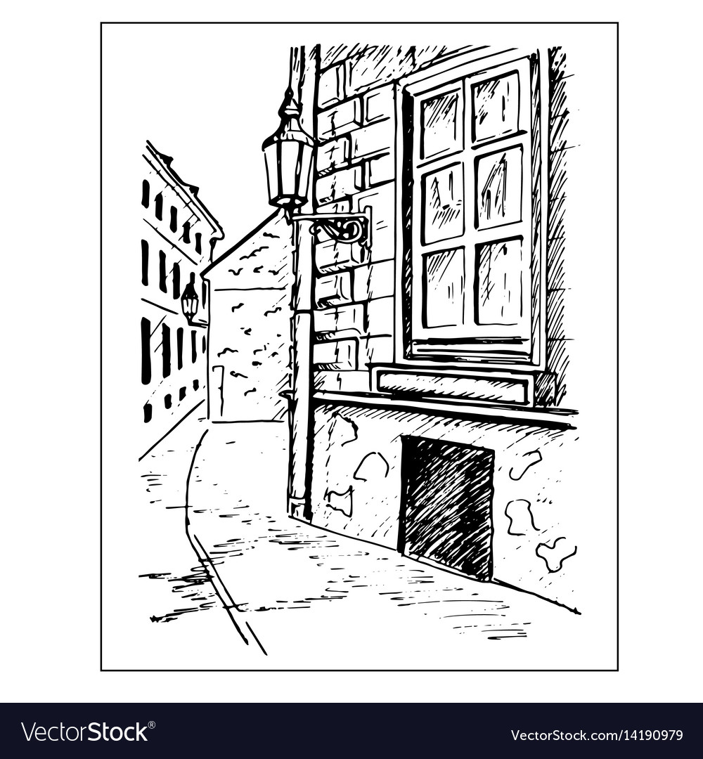 Old town street window and lantern hand drawn vector image