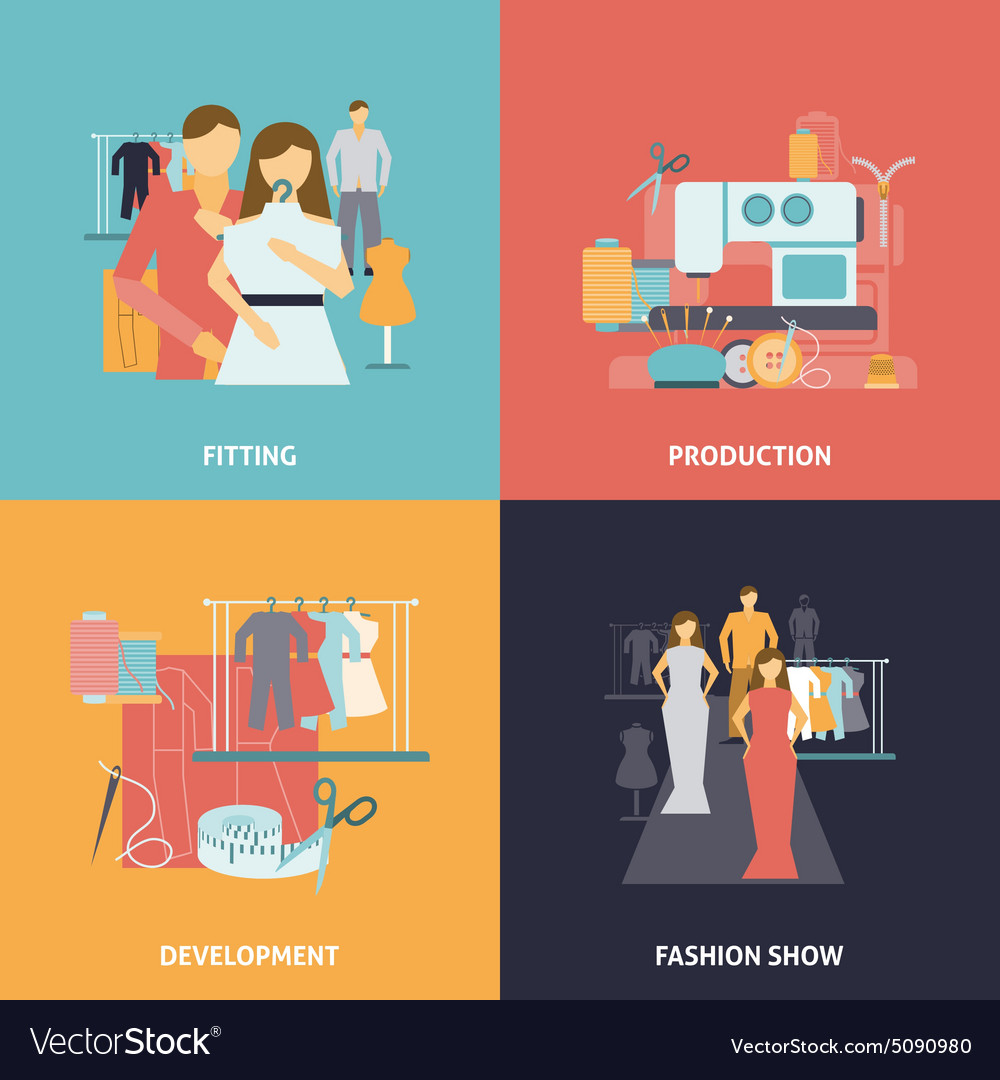 Clothes design icons set vector image