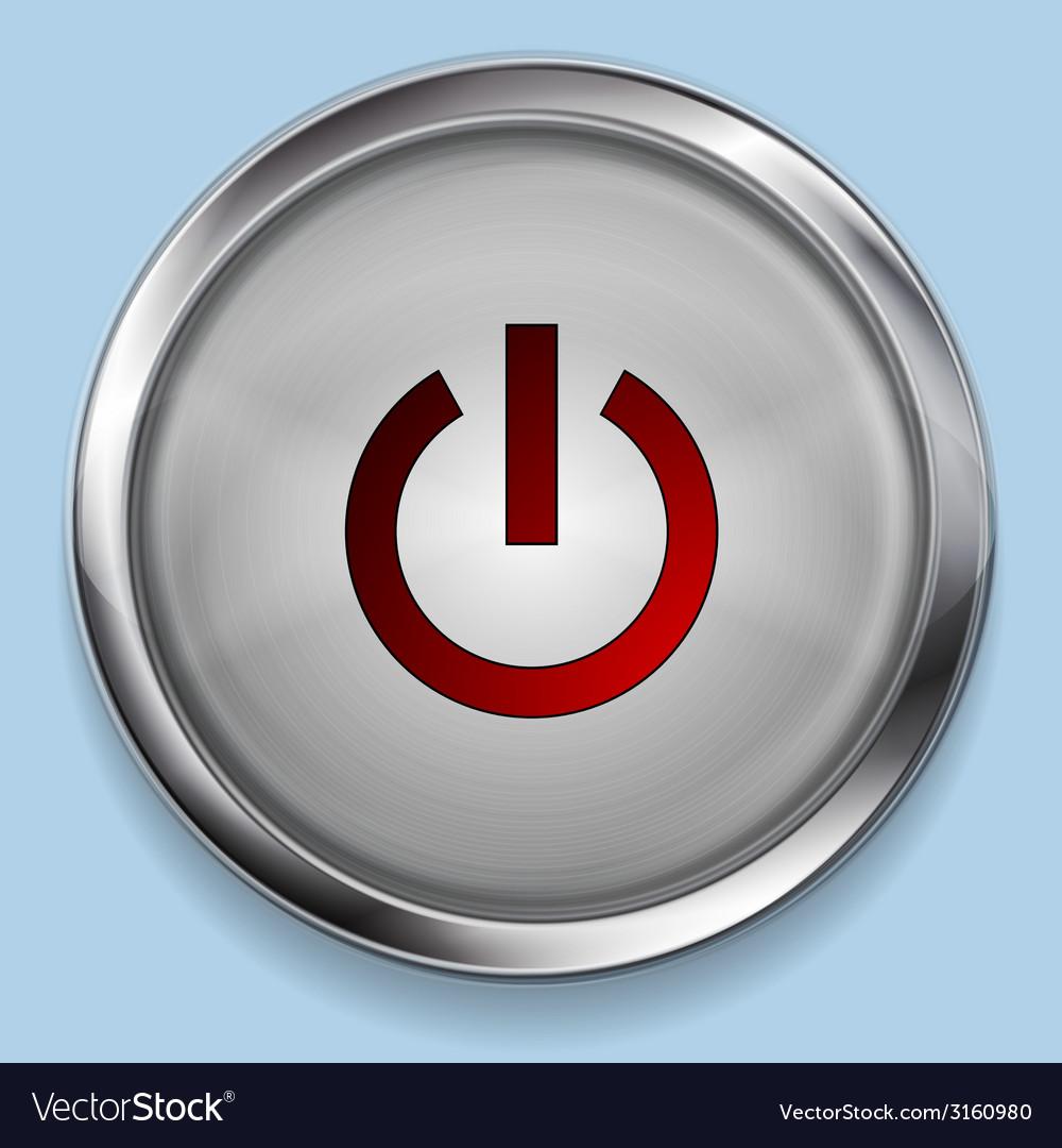 Realistic steel metal power button web design vector image
