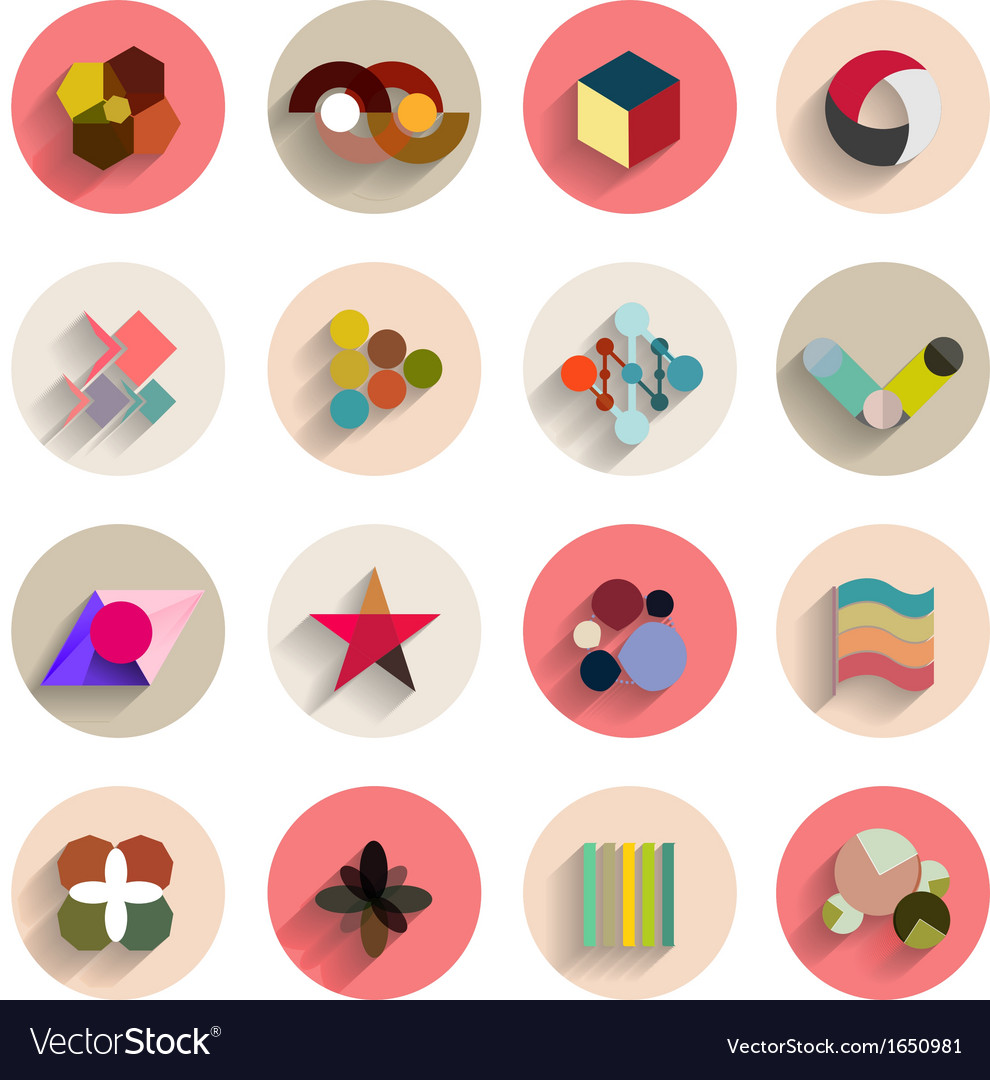 Set of geometric abstract flat icons vector image