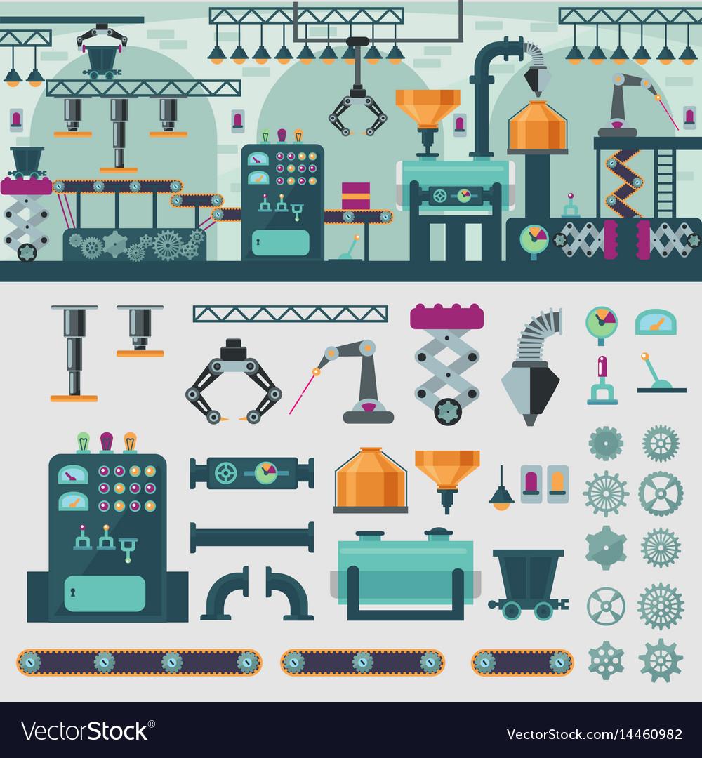 Factory interior concept vector image