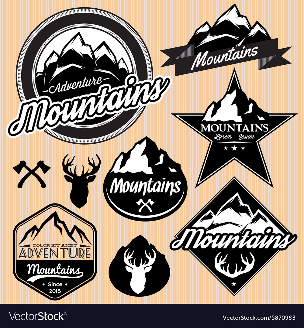 Set of templates for emblems with different vector image
