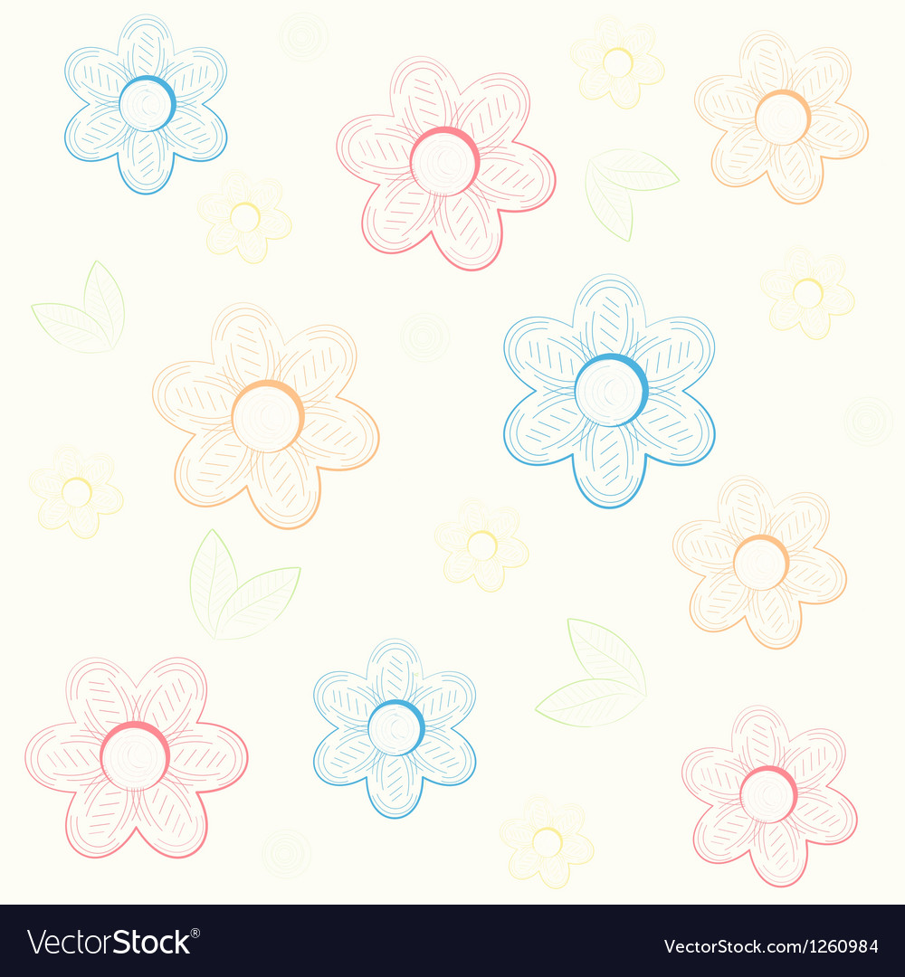 Background with flowers in hand draw style vector image