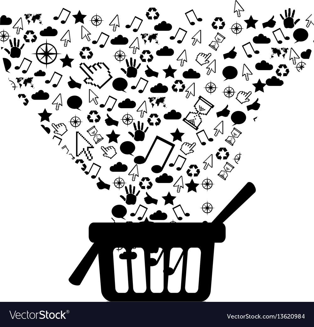 Figure market basket with technological icon vector image