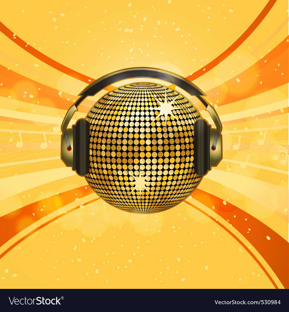Gold disco ball with headphones on an orange backg vector image