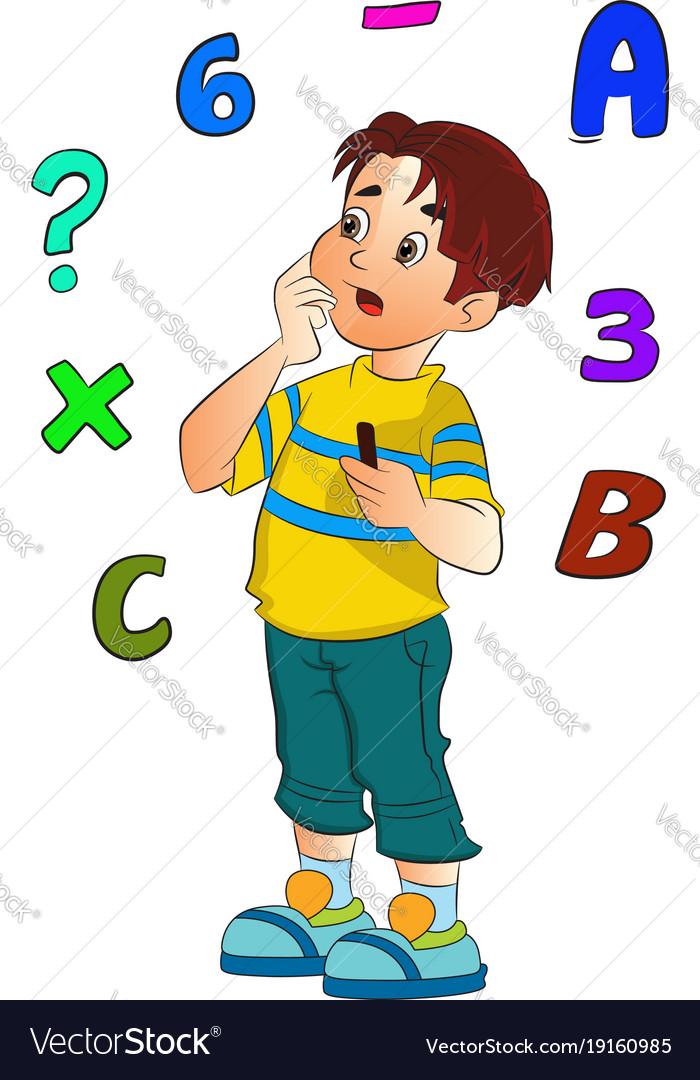 Boy solving a math problem Royalty Free Vector Image