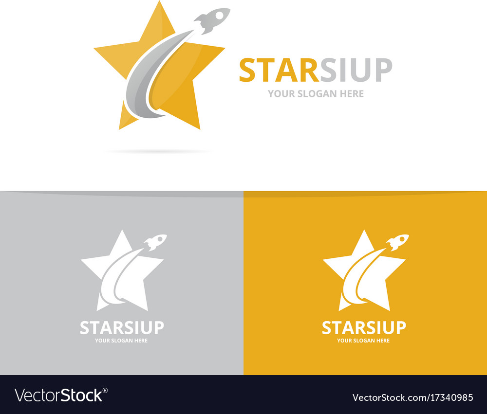 Star and rocket logo combination leader vector image