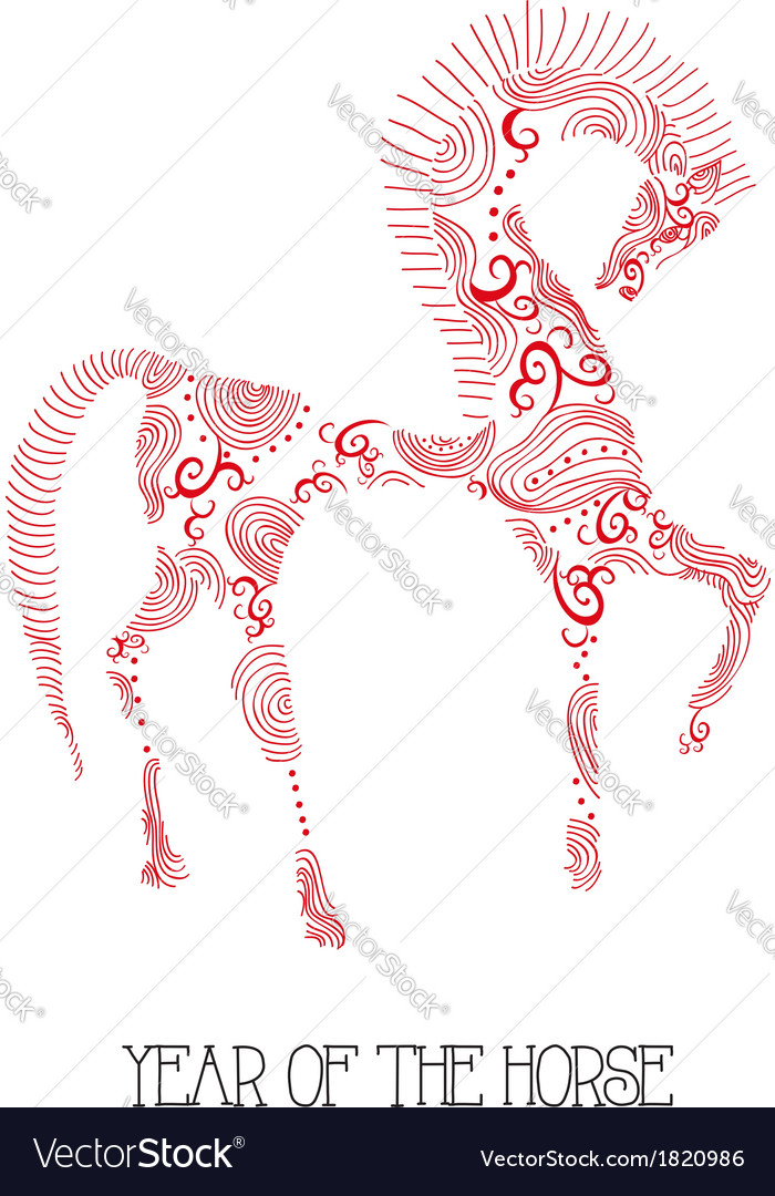 Chinese new year of the Horse abstract sketch vector image