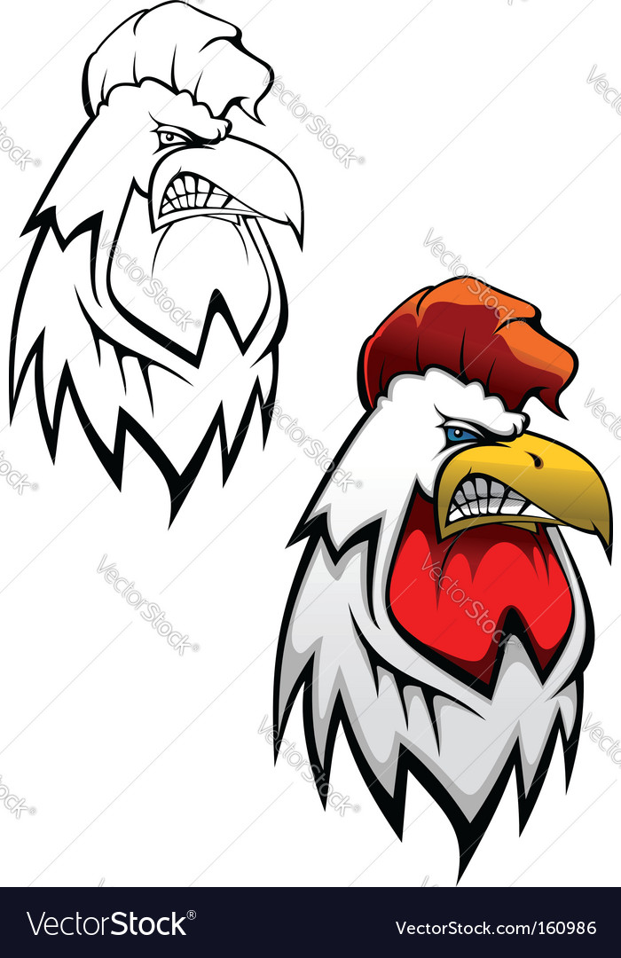 Cock head tattoo vector image