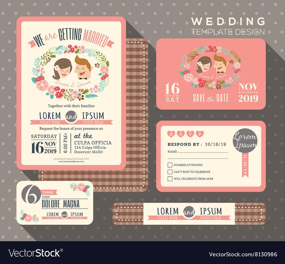 Groom and bride cartoon retro wedding invitation Vector Image