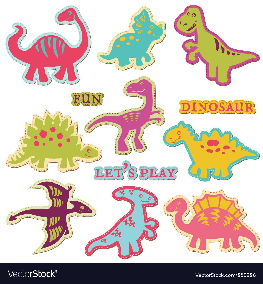 Scrapbook Design Elements - Cute Dinosaur Set vector image