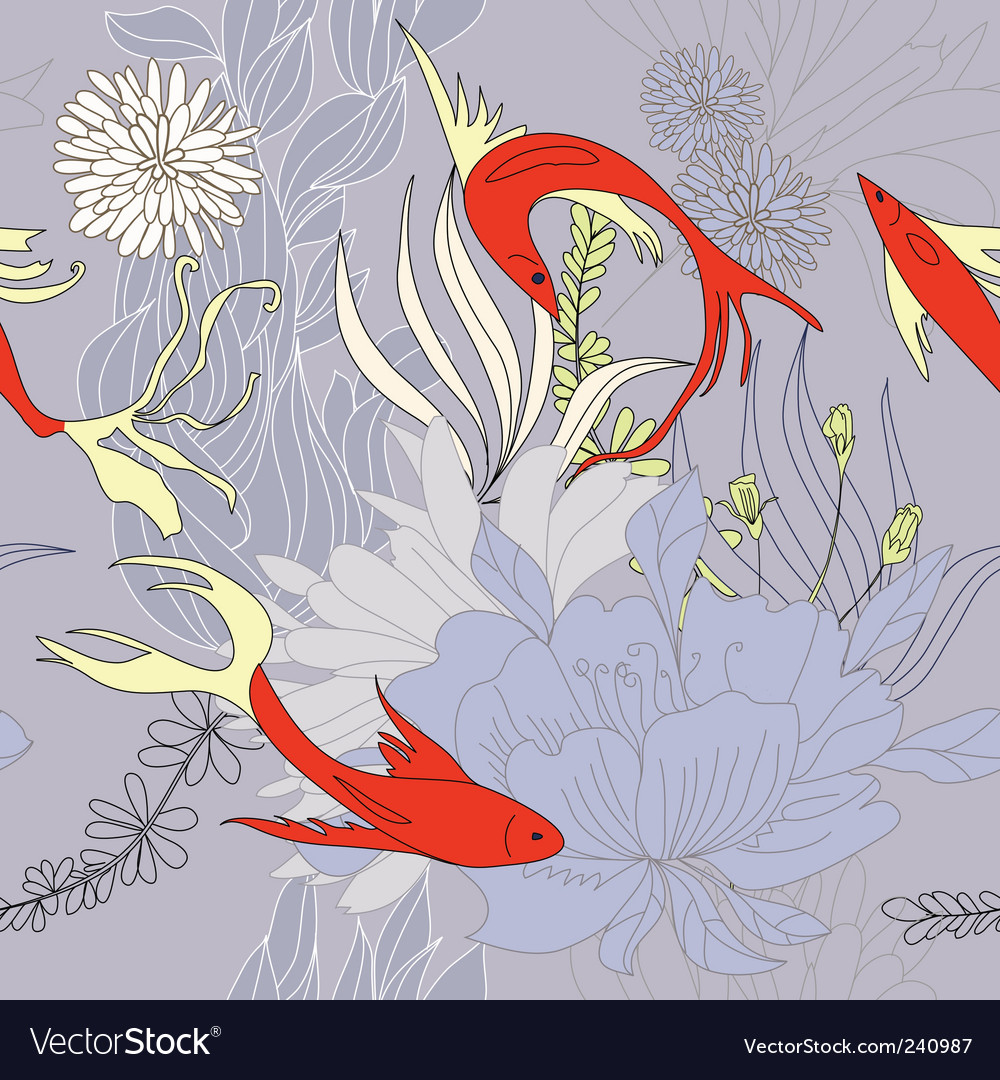 Seamless background with red fishes Vector Image