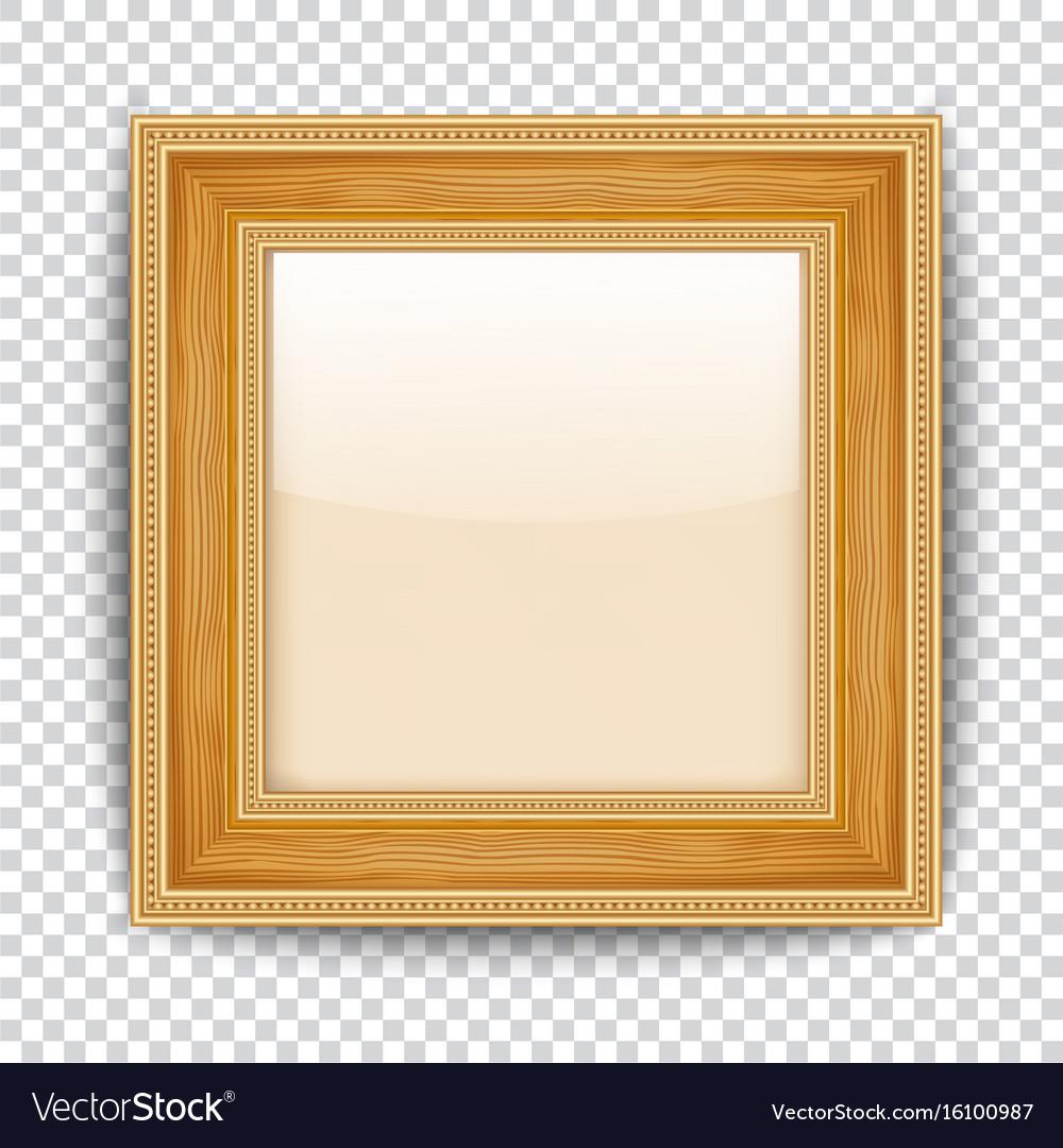 ornate gold frame border. empty gold frame on transparent background wooden  vector image ornate border