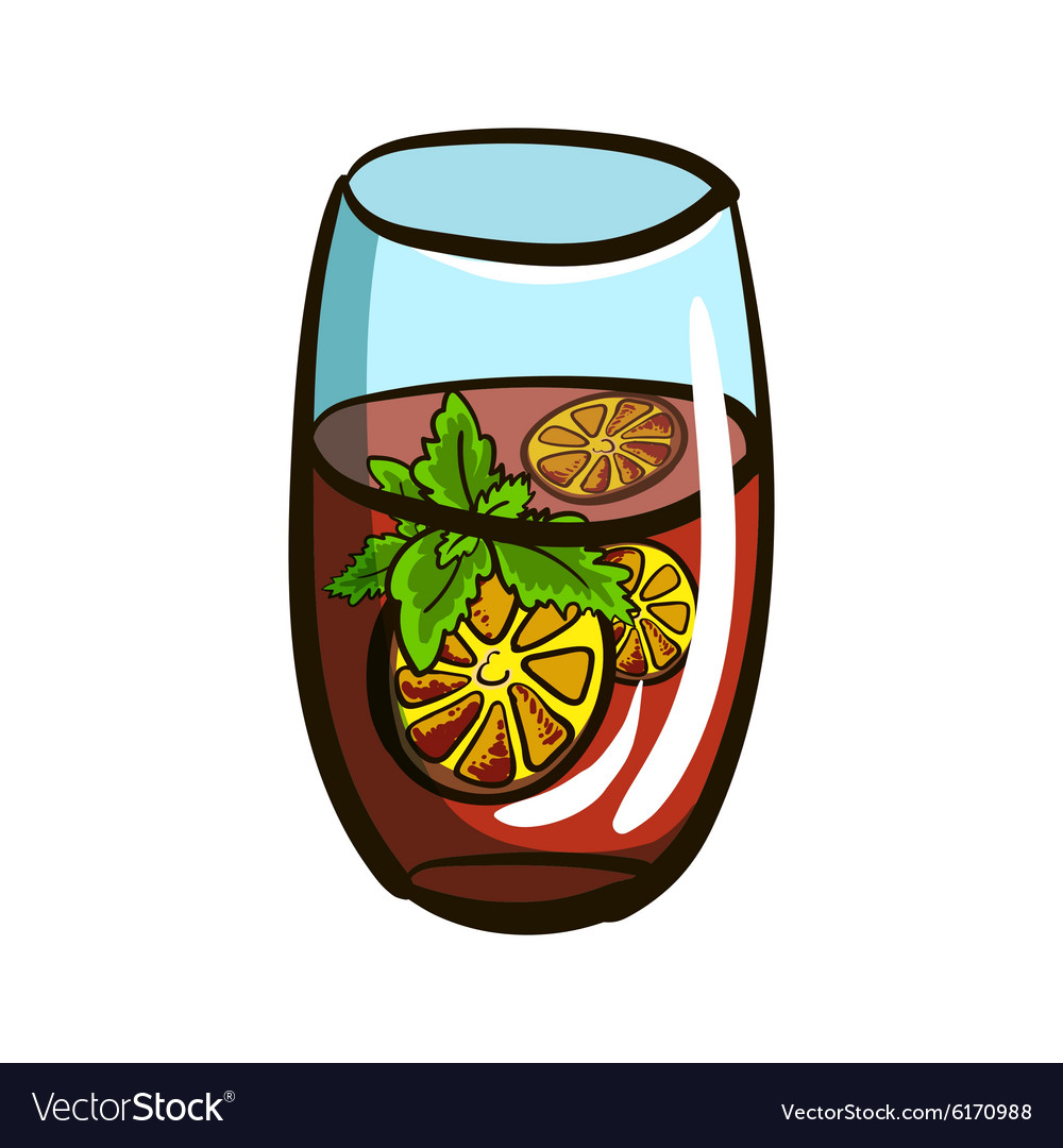 GlassWithLemonade vector image