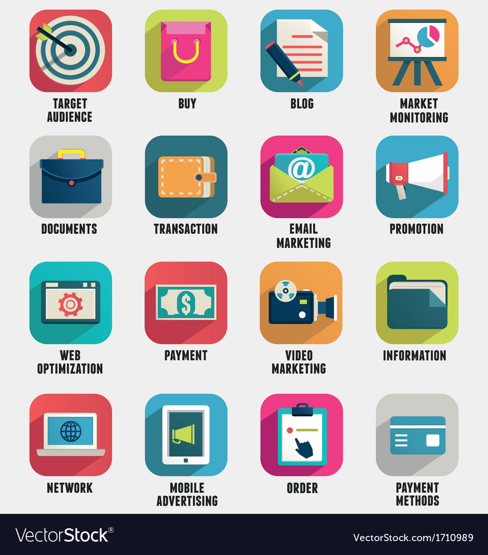 Business internet service and ecommerce icons vector image